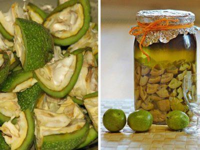 зеленые грецкие орехи с сахаром